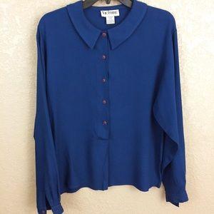 Vintage Medium Button Dark Blue Blouse Top E66